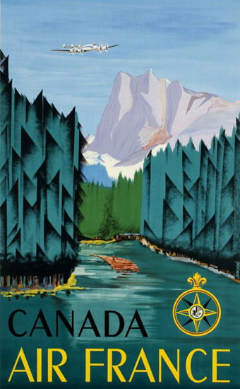 Air France Canada Rocky Mountains 1951 | Vintage Travel Posters 1891-1970