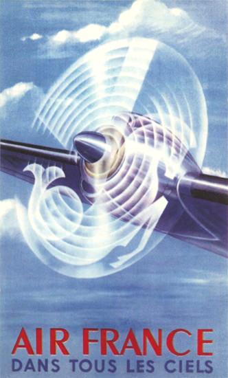 Air France Dans Tous Les Ciels 1948 | Vintage Travel Posters 1891-1970