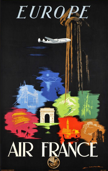 Air France Europe 1948 Paris London | Vintage Travel Posters 1891-1970