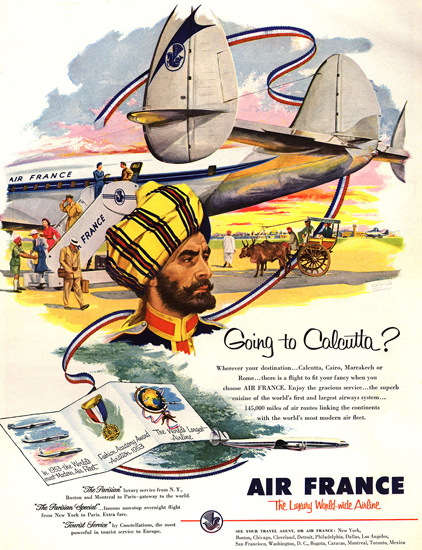 Air France Goin To Calcutta 1953 New York | Vintage Travel Posters 1891-1970