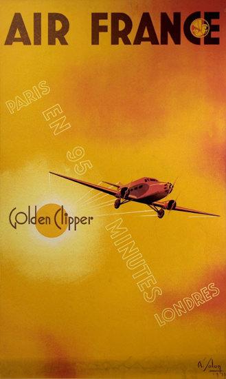 Air France Golden Clipper Paris Londres 1933 | Vintage Travel Posters 1891-1970