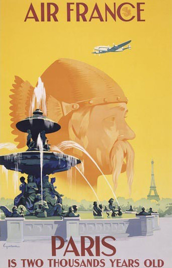 Air France Paris Is Two Thousands Years Old Gaul | Vintage Travel Posters 1891-1970