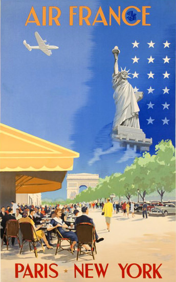 Air France Paris New York 1951 | Vintage Travel Posters 1891-1970