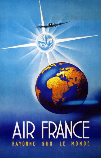 Air France Rayonne Sur Le Monde 1946 | Vintage Travel Posters 1891-1970