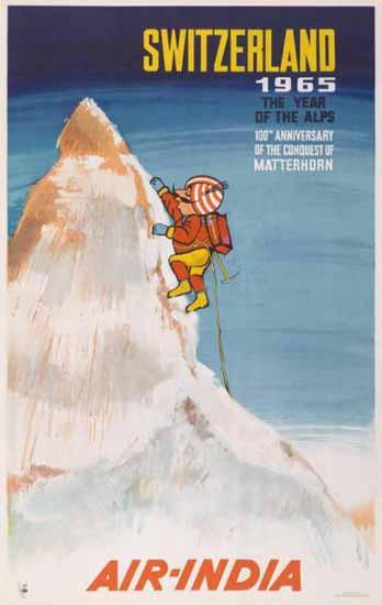 Air India 100th Anniversary Matterhorn Switzerland 1965 | Vintage Travel Posters 1891-1970
