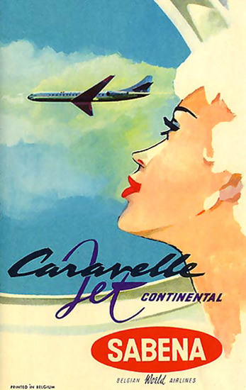 Air Sabena Girl Caravelle Jet Continental Belgium | Sex Appeal Vintage Ads and Covers 1891-1970