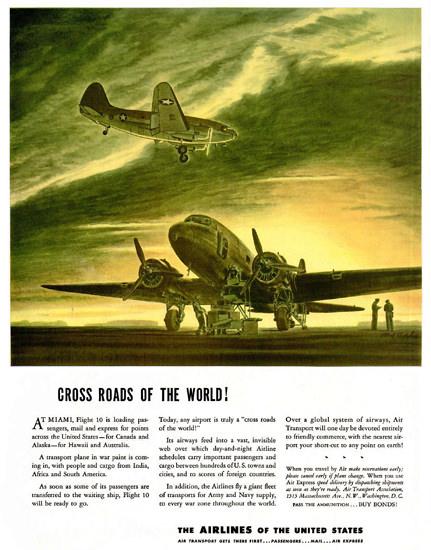 Air Transport Association Cross Roads Of World | Vintage War Propaganda Posters 1891-1970