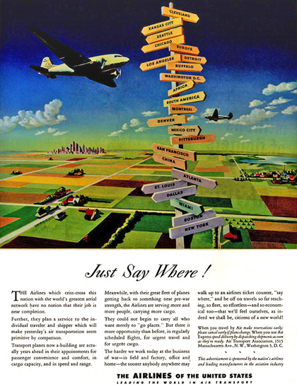 Air Transport Association Just Say Where Seattle | Vintage Travel Posters 1891-1970