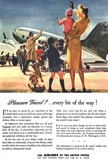 Air Transport Association Pleasure Travel Family | Vintage Travel Posters 1891-1970