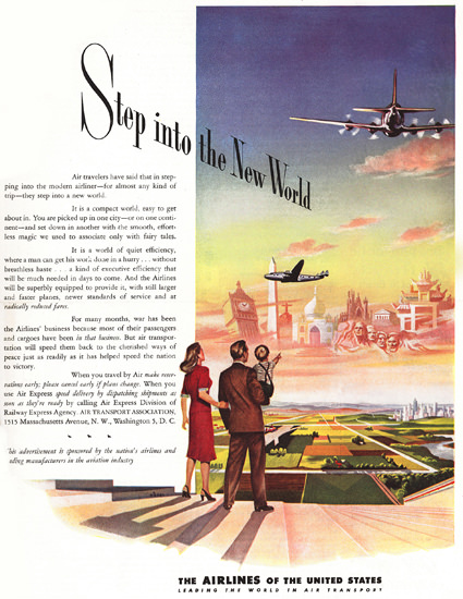 Air Transport Association Step Into New World | Vintage Travel Posters 1891-1970