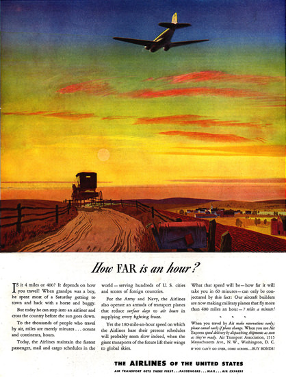 Air Transport How Far Is An Hour Washington DC | Vintage Travel Posters 1891-1970