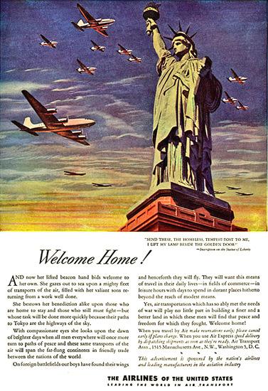 Air Transport Liberty Welcome Home Golden Door | Vintage Travel Posters 1891-1970