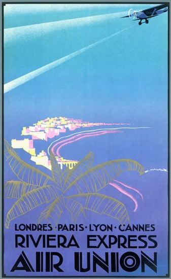 Air Union Riviera Express Londres Paris Lyon | Vintage Travel Posters 1891-1970