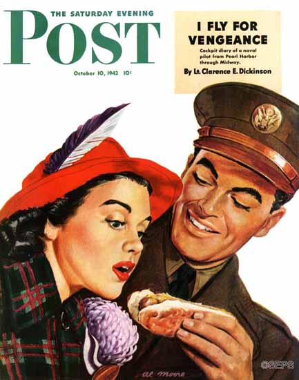 Al Moore Saturday Evening Post Hot Dog for a Hot Date 1942_10_10 | The Saturday Evening Post Graphic Art Covers 1931-1969