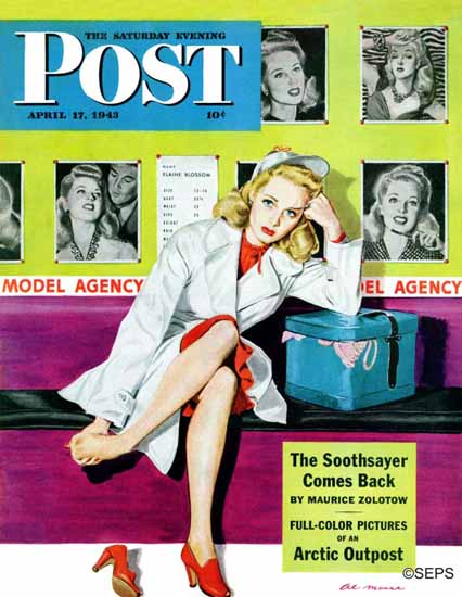 Al Moore Saturday Evening Post The Model 1943_04_17 | The Saturday Evening Post Graphic Art Covers 1931-1969