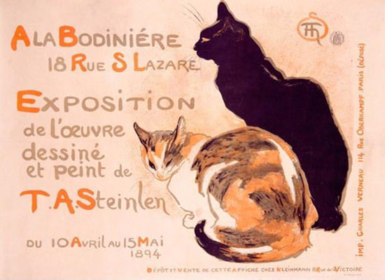 Ala Bodiniere Exposition Cats 1894 Steinlen | Vintage Ad and Cover Art 1891-1970