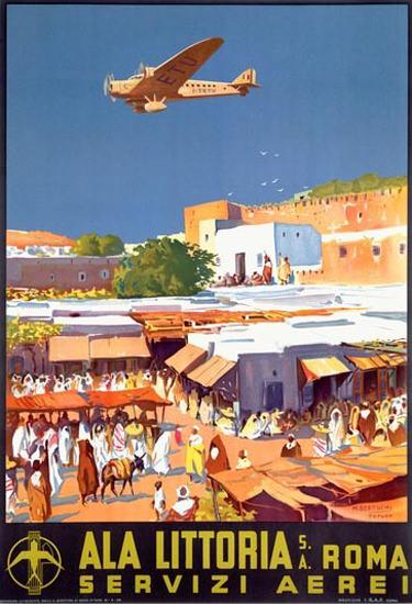 Ala Littoria Servizi Aerei Orient Roma Italia | Vintage Travel Posters 1891-1970