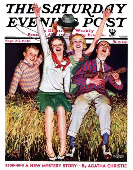 Alan Foster Saturday Evening Post Hayride 1933_09_30   The Saturday Evening Post Graphic Art Covers 1931-1969