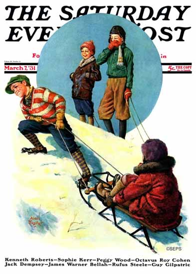 Alan Foster Saturday Evening Post Uphill Sledding 1931_03_07 | The Saturday Evening Post Graphic Art Covers 1931-1969