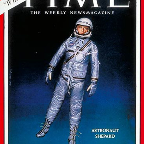 Alan Shepard Time Magazine 1961-05 by Boris Chaliapin crop | Best of Vintage Cover Art 1900-1970