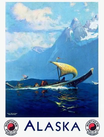 Alaska Northern Pacific Sailing Boat | Vintage Travel Posters 1891-1970