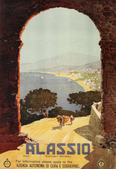 Alassio Western Riviera Italy Italia   Vintage Travel Posters 1891-1970