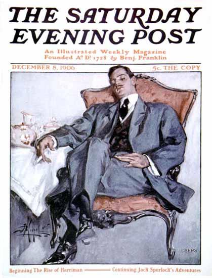 Albert Beck Wenzell Saturday Evening Post Cover Art 1906_12_08 | The Saturday Evening Post Graphic Art Covers 1892-1930