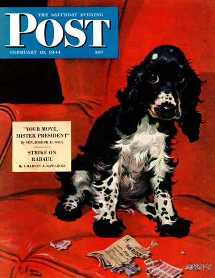 Albert Staehle Butch the Cocker Saturday Evening Post 1944_02_19 | The Saturday Evening Post Graphic Art Covers 1931-1969