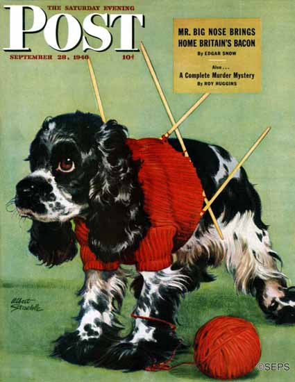 Albert Staehle Butch the Cocker Saturday Evening Post 1946_09_28 | The Saturday Evening Post Graphic Art Covers 1931-1969