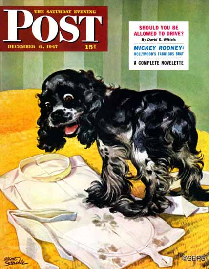 Albert Staehle Butch the Cocker Saturday Evening Post 1947_12_06 | The Saturday Evening Post Graphic Art Covers 1931-1969
