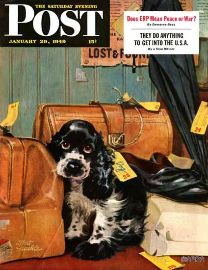 Albert Staehle Butch the Cocker Saturday Evening Post 1949_01_29 | The Saturday Evening Post Graphic Art Covers 1931-1969