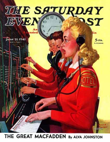 Albert W Hampson Saturday Evening Post Blushing Operator 1941_06_21 | The Saturday Evening Post Graphic Art Covers 1931-1969