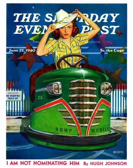 Albert W Hampson Saturday Evening Post Bumper Cars 1940_06_22 | The Saturday Evening Post Graphic Art Covers 1931-1969