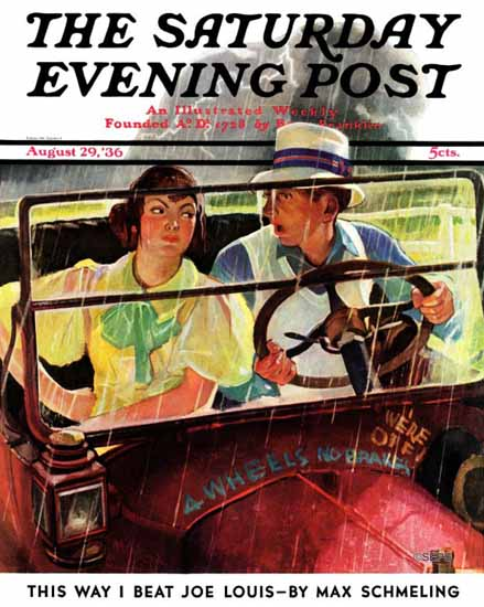 Albert W Hampson Saturday Evening Post Caught in the Rain 1936_08_29 | The Saturday Evening Post Graphic Art Covers 1931-1969