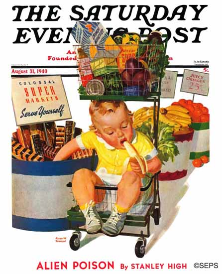 Albert W Hampson Saturday Evening Post Grocery Lunch 1940_08_31 | The Saturday Evening Post Graphic Art Covers 1931-1969