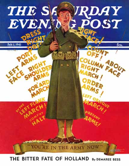 Albert W Hampson Saturday Evening Post In the Army Now 1941_02_01 | The Saturday Evening Post Graphic Art Covers 1931-1969