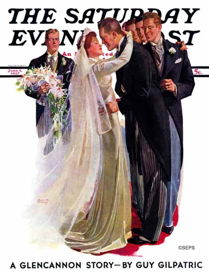 Albert W Hampson Saturday Evening Post Kissing Best Man 1937_06_05 | The Saturday Evening Post Graphic Art Covers 1931-1969