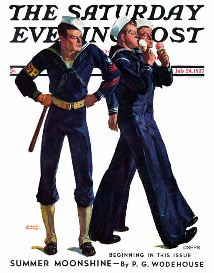 Albert W Hampson Saturday Evening Post Sailors and Cones 1937_07_24 | The Saturday Evening Post Graphic Art Covers 1931-1969