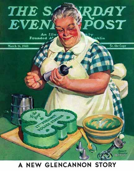 Albert W Hampson Saturday Evening Post St Paddy Cake 1940_03_16 | The Saturday Evening Post Graphic Art Covers 1931-1969
