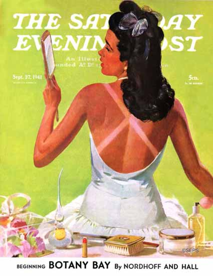 Albert W Hampson Saturday Evening Post Tan Lines 1941_09_27 | The Saturday Evening Post Graphic Art Covers 1931-1969
