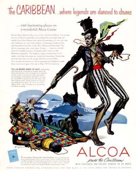 Alcoa 1954 Caribbean Legends Haiti Death Dance | Vintage Travel Posters 1891-1970