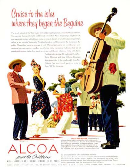 Alcoa 1954 Cruises To The Isles Beguine Bagan | Vintage Travel Posters 1891-1970