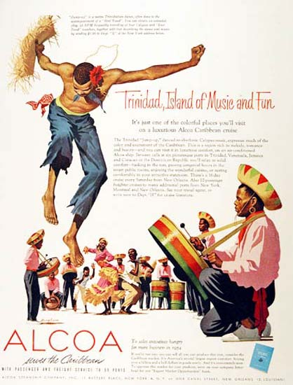Alcoa 1954 Trinidad Island Of Music And Fun | Vintage Travel Posters 1891-1970