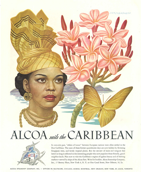 Alcoa Sails The Caribbean Beauty Butterfly Flower 1948 by Boris Artzybasheff | Vintage Travel Posters 1891-1970