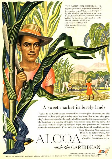 Alcoa Sweet Market Lovely Caribbean 1949 | Vintage Travel Posters 1891-1970