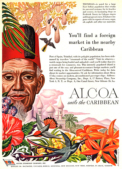 Alcoa Youll Find A Foreign Market Caribbean 1949 | Vintage Travel Posters 1891-1970