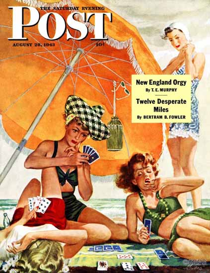 Alex Ross Saturday Evening Post Card Game at the Beach 1943_08_28 | The Saturday Evening Post Graphic Art Covers 1931-1969