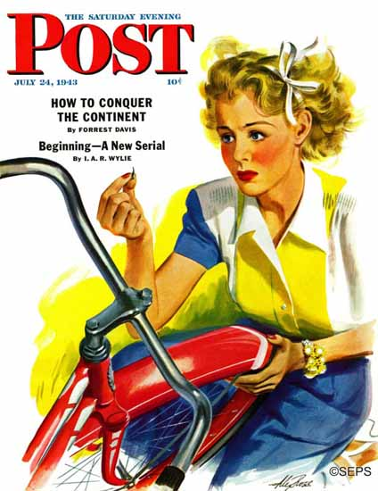 Alex Ross Saturday Evening Post Flat Bike Tire 1943_07_24 Sex Appeal | Sex Appeal Vintage Ads and Covers 1891-1970