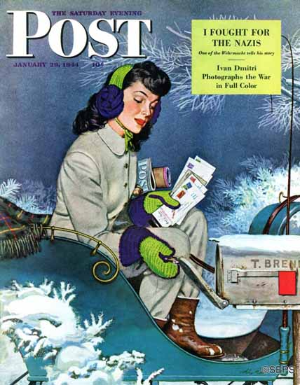 Alex Ross Saturday Evening Post Mail Delivery by Sleigh 1944_01_29 | The Saturday Evening Post Graphic Art Covers 1931-1969