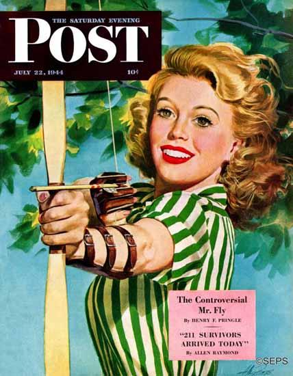 Alex Ross Saturday Evening Post Woman Archer 1944_07_22 | The Saturday Evening Post Graphic Art Covers 1931-1969